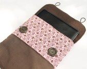 Damask Pink with Brown pocket IPad cover, IPad 2 cover, IPad 3 cover, Notebook