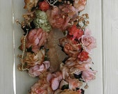 Reserved Listing Wreath Cottage Style With Rose's and Cherub Face