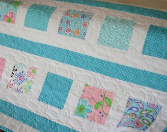 Turquoise Contemporary Baby Quilt