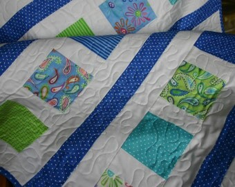 Royal Blue Amelia Contemporary Baby Quilt