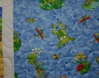 Contemporary Froggy Blue Baby Boy Quilt
