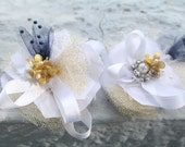 personalized wedding hair pieces for the bride and attendants