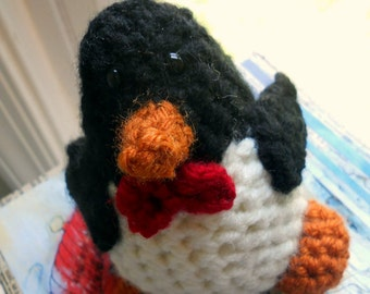Penguin Crochet Stuffed Toy Black Red Bow Tie