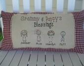 Personalized Primitive Pillows Custom made. Perfect for grandparents gift. Stick grandchildren