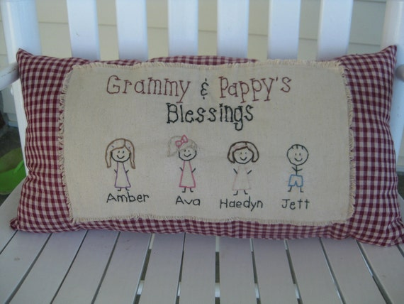 Personalized Primitive Pillows Custom made. Perfect for grandparents gift. Stick grandchildren