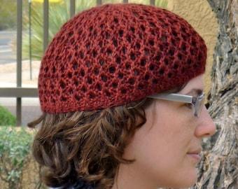 Maroon lace knit hat for women