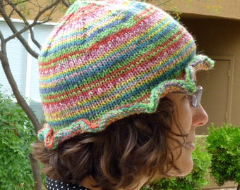 Colorful ruffle brim knit hat for women (pink, blue, green, yellow, red, and teal)
