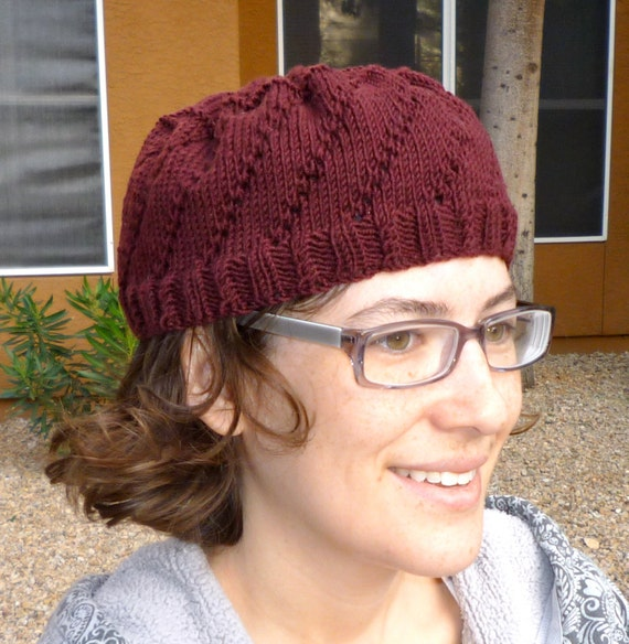Maroon spiral eyelet lace knit hat for women