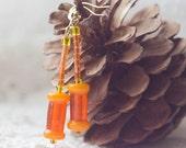 Orange cylinder - Glass earrings