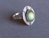 Fine silver leaf ring with gorgeous prehnite cabochon