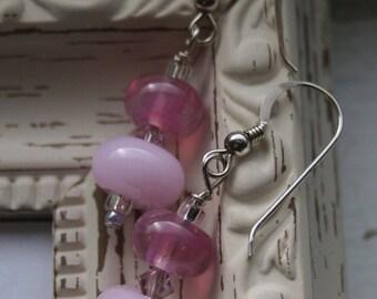 Pink Lampwork Glass Earrings