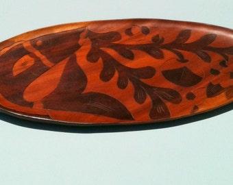Vintage Platter Wood Folk Art Handcarved Fish Etching