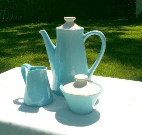 Vintage Tea or Coffee Pot Sugar Bowl and Creamer Beautiful Aqua Blue California Pottery