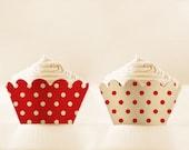 Red Cupcake Wrappers Printable Polka Dots Holders Vintage DIGITAL DOWNLOAD mothers day liners valentines printable 12/15