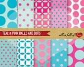 Digital Scrapbooking TEAL PINK Paper Pack Balls Polka Dot Background Printable 12/15
