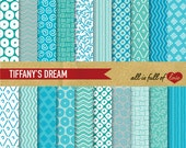 Digital Scrapbooking Paper Pack TIFFANYS Blue DREAM Printable Background INSTANT Download