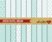 Digital Scrapbooking Paper Pack MINT GREEN Pattern Background Baptism papers