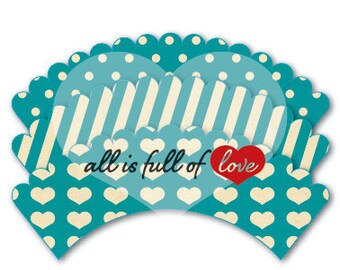 Turquoise Cupcake Wrappers Hearts Liner Template Polka dots holder