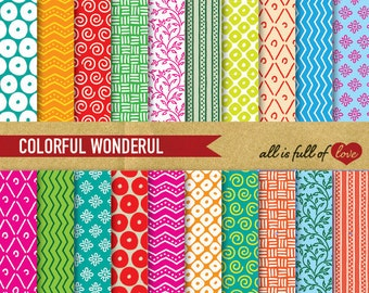 Digital Paper Pack COLORFUL WONDERFUL Scrapbooking Printable Background with Instant Download birthday papers pack