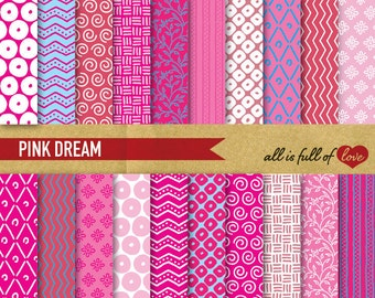 Hand Draw Paper Digital SCRAPBOOKING Paper Pack PINK Chevron Digital Graphics printable background Stripes PATTERN Instant Download