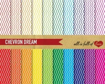 CHEVRON SCRAPBOOKING Digital Paper Pack Rainbow Printable Background Patterns chevron wallpaper zig zag backdrop 02/16