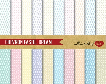 Digital Paper Pack CHEVRON Patterned Cardstock Pastel Wedding papers Easter patterns A4