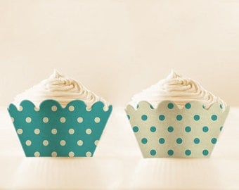 Polka Dots Printable Cupcake Wrappers TURQUOISE wedding cupcake LINERS mothers day cupcake holder DIY cupcake wrap Vintage Instant Download