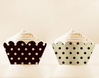 Cupcake Wrappers Printable Black Liners Retro Polka Dots Holders DIY Set New Years Eve Party Decor Black cupcake wrap prom printables