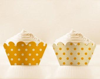 Yellow Cupcake Liners Printable Wraps Polka Dots Saffron Yellow Liners easter cupcake wrappers birthday cupcake holder DIGITAL DOWNLOAD