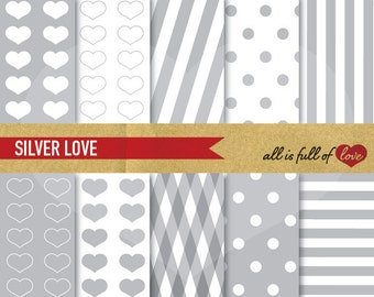 Valentines DIGITAL PAPER Pack Silver Polka Dots Grey Heart patterns stripes Valentines Paper Valentines Background Love A4 Letter