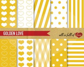 Golden Digital Paper Yellow DIGITAL Scrapbooking PAPER Gold backgrounds Hearts polka dots stripes Digital Download valentines paper kit