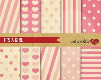 Pink Paper Valentines Background Patterns Digital Scrapbook Kit Diamonds Stripes Hearts Polka Dots Valentines Digital Paper 12/15
