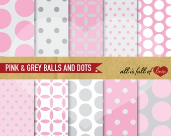 PINK GREY Papers Digital Paper Polka Dots Background Patterns 12/15