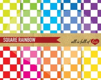 Chess pattern Digital Paper RAINBOW Scrapbook Background SQUARES Digital Download 12/15