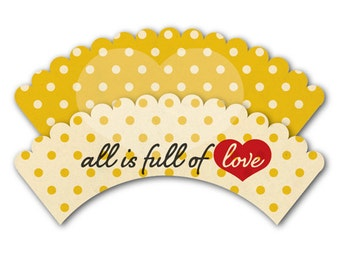 Yellow Cupcake Holders printable Wrappers Polka Dots Printable Wrappers baby shower wraps yellow cupcake liners retro cupcakes