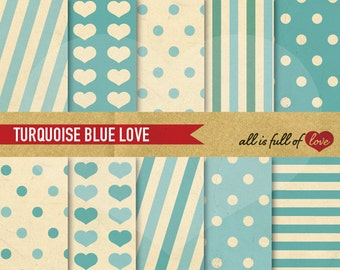 Valentines Scrapbook Digital Background Paper Set BLUE TURQUOISE Clipart Valentines Paper LOVE digital paper Baby Boy 8.5 X 11 02/16