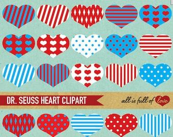 Heart Clip Art RED BLUE Digital Scrapbooking Dr SEUSS Clipart Stripes polka dots Digital Graphics Valentine Clipart Dr Seuss Pattern