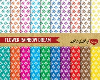 Digital GRAPHICS Paper Pack FLOWER RAINBOW Background Patterns