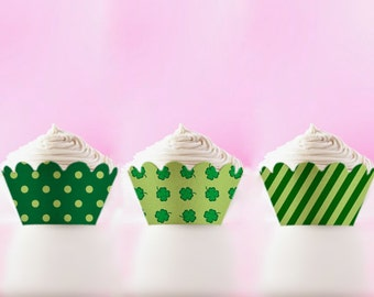 Printable Cupcake Wrappers St PATRICKS DAY Holders Shamrock Party Decor DIY green cupcake wrap clover wrappers Digital Download Liners