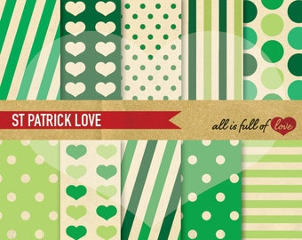 Digital Paper St Patricks Patterns Vintage Scrapbooking Pack Backgrounds Green Shamrock St paddys backdrop card making papers green clover