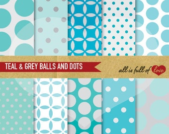 DIGITAL Scrapbooking Paper Pack TEAL and GREY Balls and Polka Dots Backgrounds Printable Instant Download