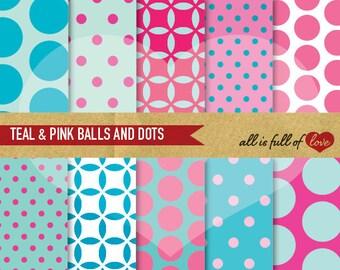 Pink Turquoise Digital Paper Pack Dotted Patterns Scrapbook TEAL PINK Graphics Balls Polka Dots Background Printable patterned cardstock