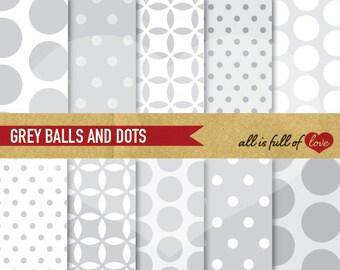 GREY Digital Paper Balls Polka Dots Scrapbook Printable Background Grey Quatrefoil Grey wrapping paper wedding papers silver patterns