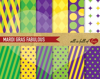 MARDI GRAS Scrapbook Digital Paper Pack Purple Green and Yellow Backgrounds Printable Carnival Patterns DIY Party Decor Instant Download