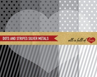 Grey Digital Paper Pack SILVER Pattern Polka Dots & STRIPES Background Printable graphics Silver Metals paper fathers day Instant Download
