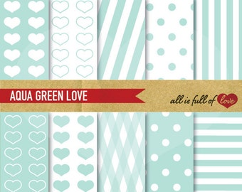 Aqua Green DIGITAL PAPER Pack Mint Printable Clipart Patterns Valentines Digital Paper 12/15