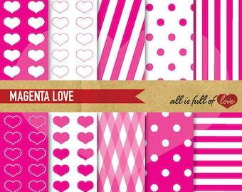 PINK Background Patterns Valentines Digital Paper Pack MAGENTA Scrapbooking Paper Polka Dots Collage Sheet mothers day Patterns