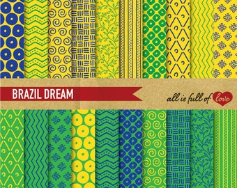 Scrapbooking Digital Paper Pack BRAZIL Background Printable Sheets Brasil Digital Graphics Wrapping Paper Yellow Green Blue Brazil flag