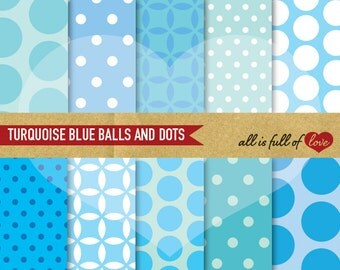 Blue Digital Paper Polka Dots Scrapbook Digital Graphics TURQUOISE BLUE Background Printable collage sheet baby boy