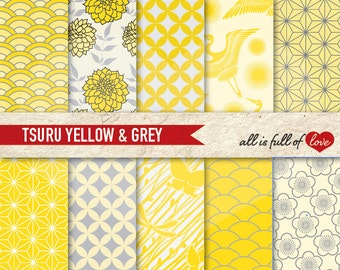 JAPANESE Digital Paper YELLOW GREY Scrapbook Printable Background Chinese New Year patterned card stock gray digital graphics geschenkpapier